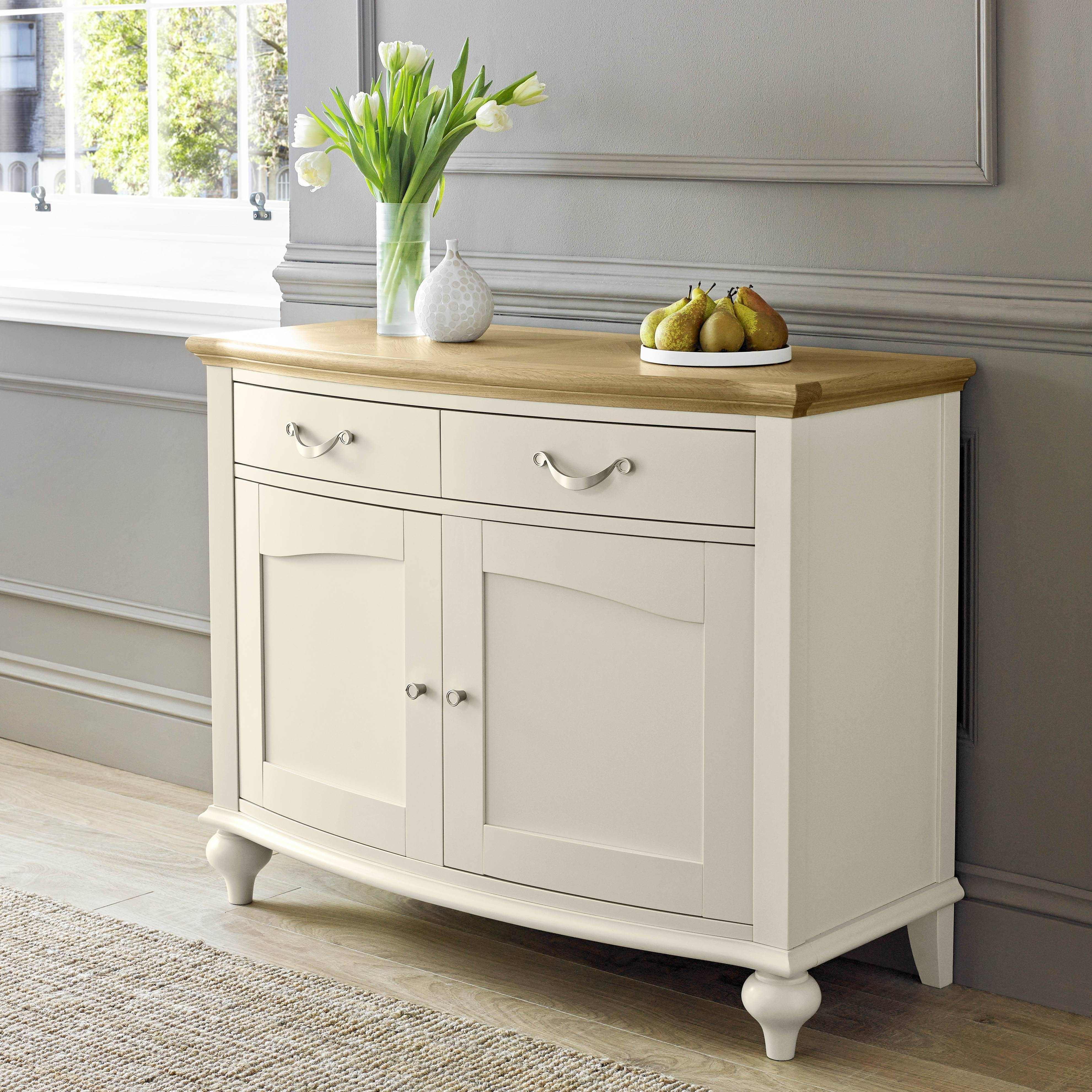 Tuscany Pale Oak & Antique White Narrow Sideboard With Narrow Sideboards (#19 of 20)