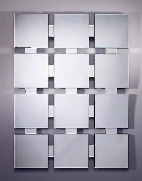Twelve 12 Panel Multi Square Flat Frameless Bevelled Mirror With Regard To Square Bevelled Mirrors (View 15 of 15)