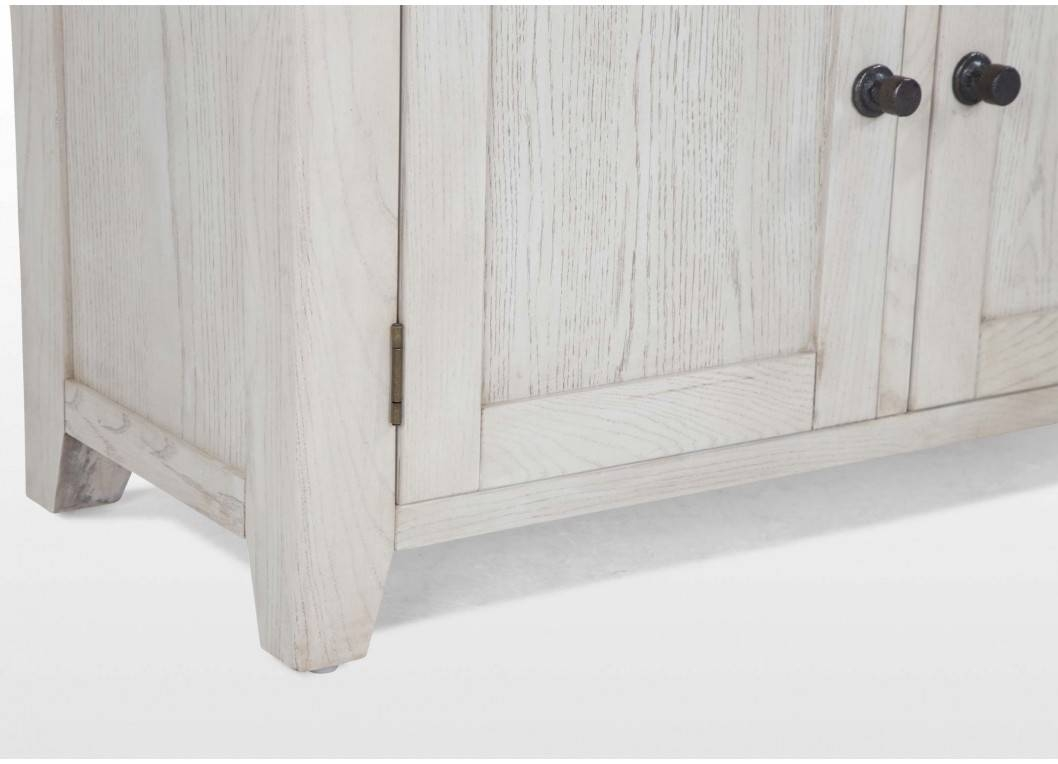 Two Door Two Drawer Distressed White Oak Sideboard – Country Cottage Intended For White Wooden Sideboard (#16 of 20)