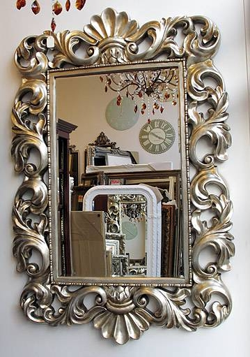 Typical English Decorations Silver Baroque Rococo Framed Mirror Within Silver Baroque Mirrors (View 14 of 30)