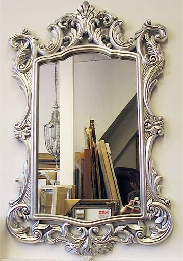 Typical English Decorations Silver Or Gold Baroque Framed Mirror Within Silver Baroque Mirrors (View 5 of 30)