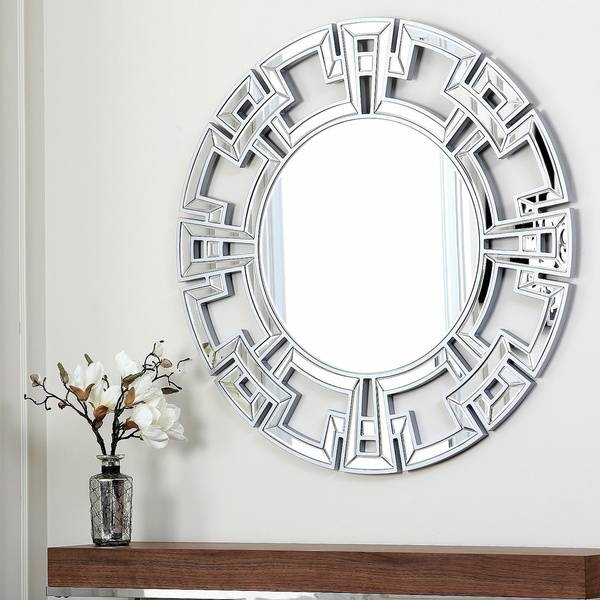 Unique Abbyson Living Pierre Silver Round Mirror Wall Decor And In Unique Round Mirrors (#28 of 30)