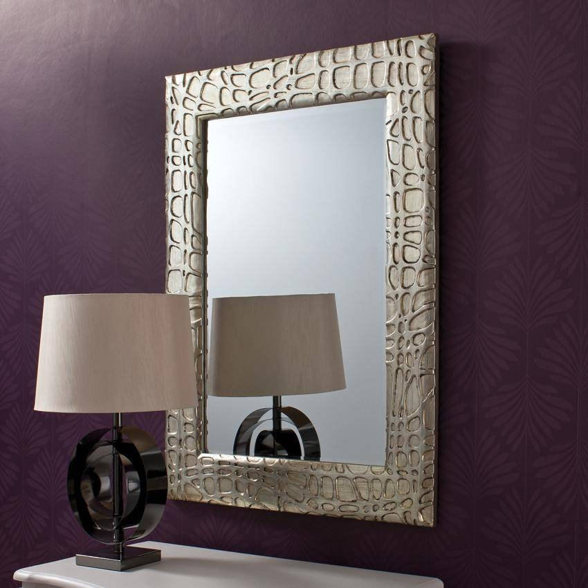 Inspiration about Unique Framed Wall Mirror For Dark Purple Wall Paint. Part Of For Big Silver Mirrors (#10 of 20)