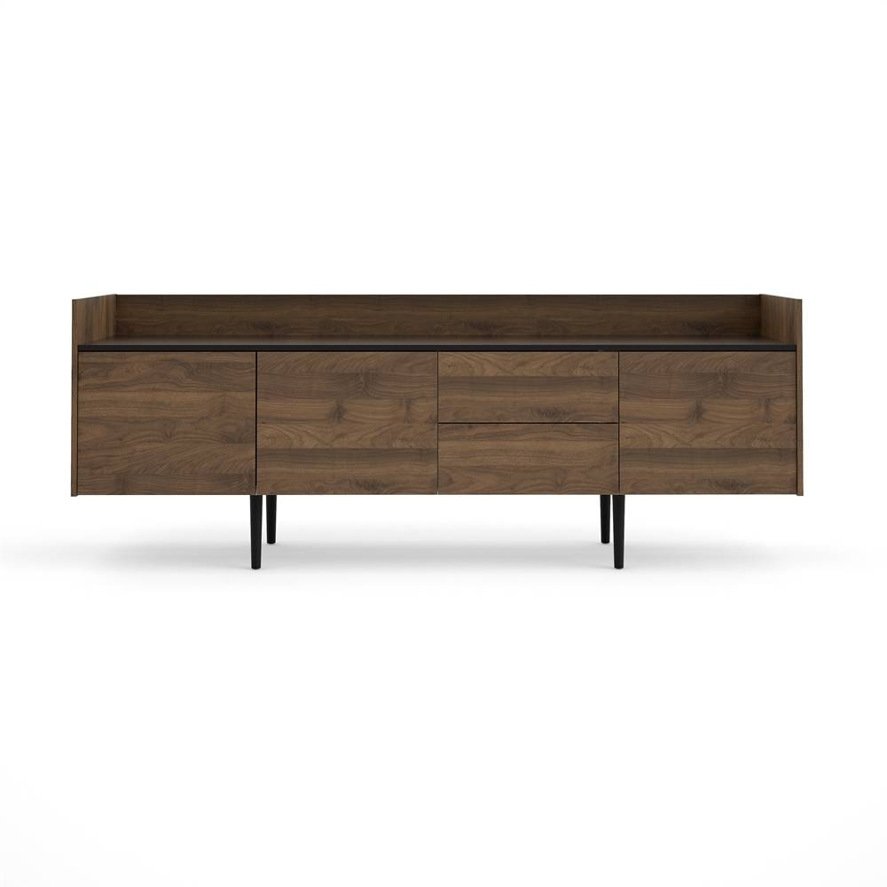 Inspiration about Unit 2 Drawer And 3 Door Sideboard, Walnut / Black Pertaining To Walnut And Black Sideboard (#11 of 20)