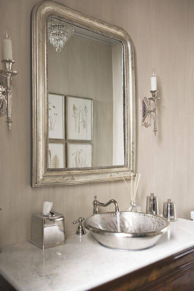 United States Polished Nickel Mirror Powder Room Transitional With Regarding Silver Rectangular Bathroom Mirrors (#19 of 20)