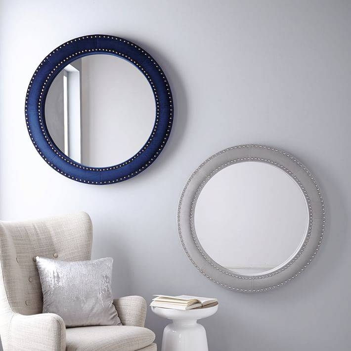 Inspiration about Upholstered Round Mirror – Ink Blue Velvet | West Elm With Regard To Blue Round Mirrors (#3 of 30)