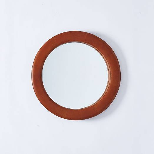 Upholstered Round Mirror – Saddle Leather | West Elm Inside Round Leather Mirrors (#28 of 30)