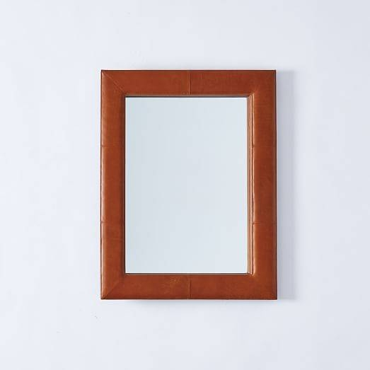 Upholstered Wall Mirror – Saddle Leather | West Elm Pertaining To Leather Wall Mirrors (View 16 of 20)