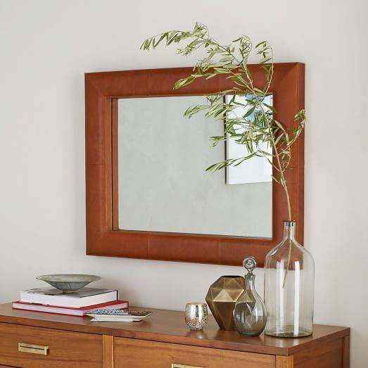 Upholstered Wall Mirror – Saddle Leather | West Elm Throughout Leather Wall Mirrors (View 17 of 20)