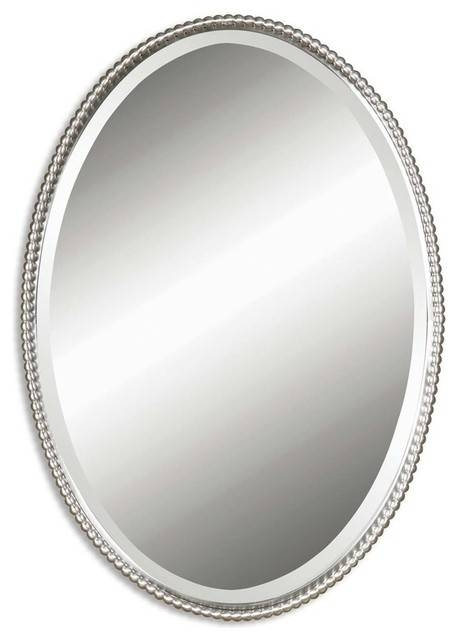Inspiration about Uttermost 0110 B Sherise Oval Mirror – Traditional – Wall Mirrors Within Silver Oval Mirrors (#3 of 20)