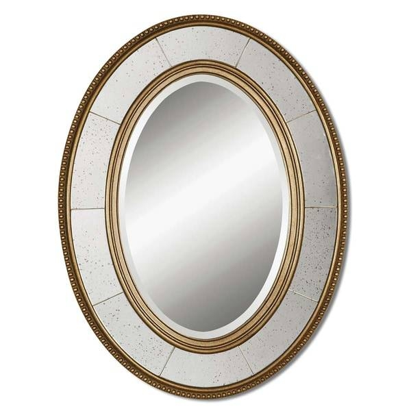 Inspiration about Uttermost Lara Antiqued Champagne Silver Beveled Oval Mirror Within Oval Silver Mirrors (#10 of 20)