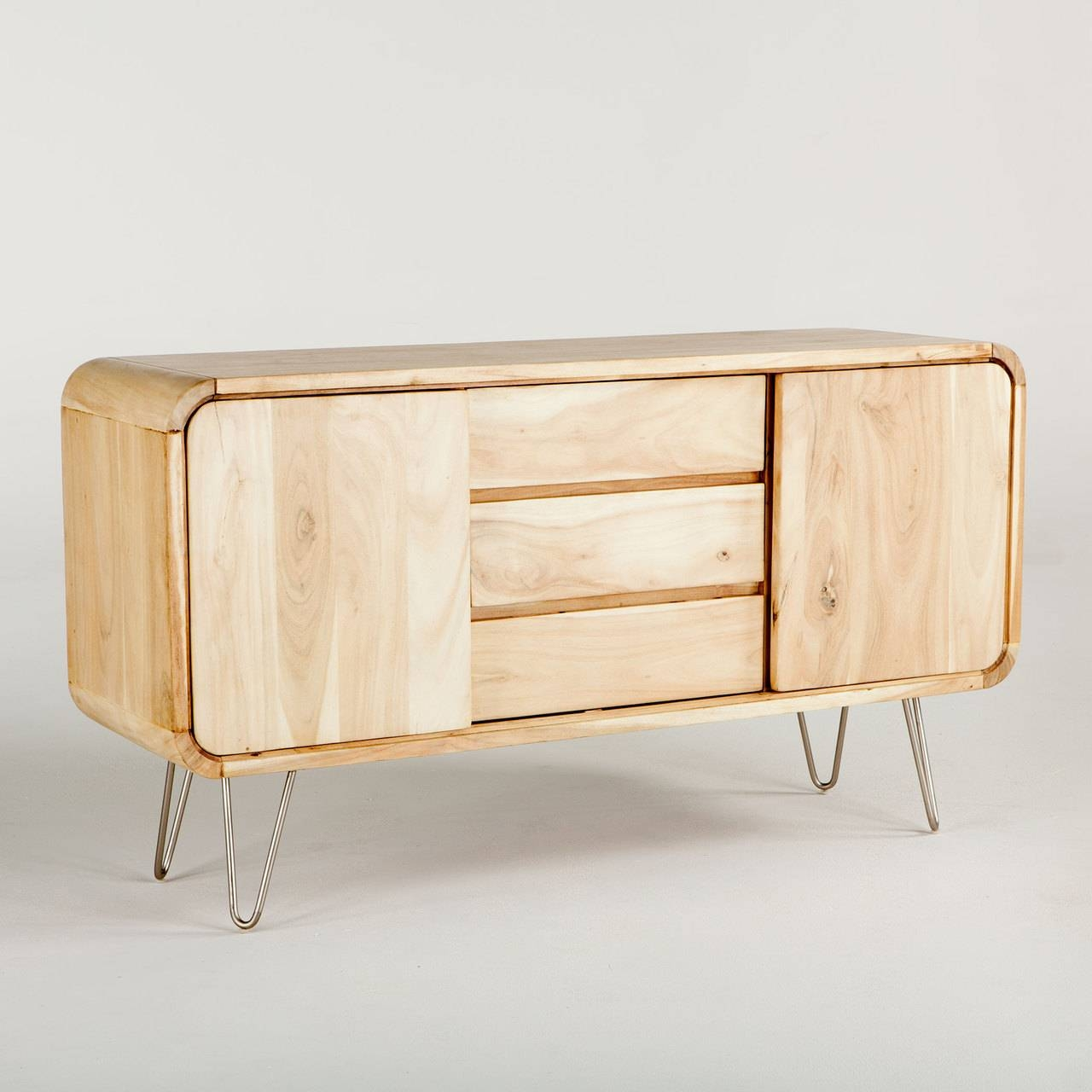 Vail Solid Wood Sideboard In Natural W/ Steel Legs – Simply Austin With Regard To Real Wood Sideboard (View 12 of 20)
