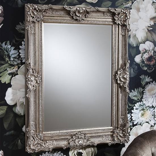 Valley Baroque Style Wall Mirror Rectangular In Antique Inside Silver Baroque Mirrors (View 29 of 30)