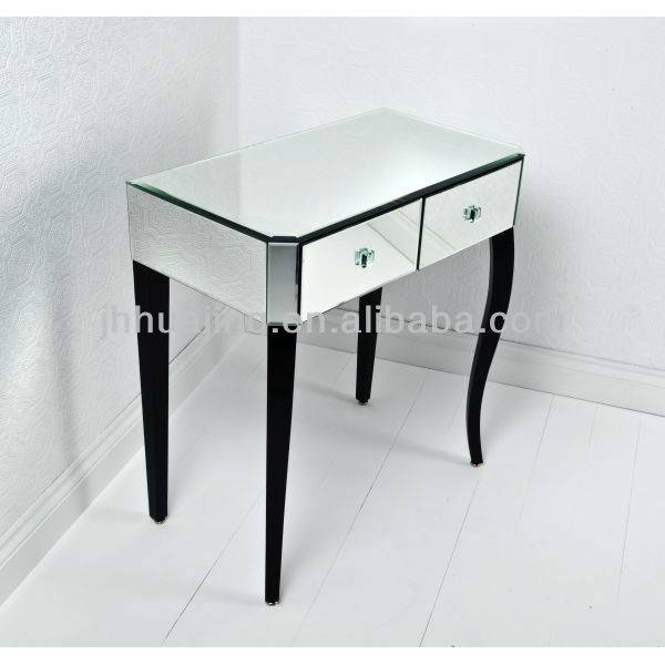 Inspiration about Venetian 2 Drawer Mirrored Console With Black Curved Wooden Legs Regarding Venetian Dressing Table Mirrors (#20 of 30)