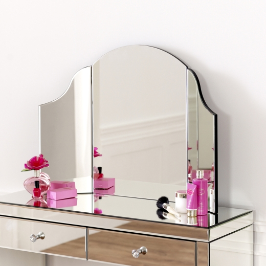Inspiration about Venetian Art Deco Curved Dressing Table Mirror – Glass Bedroom Pertaining To Venetian Dressing Table Mirrors (#28 of 30)