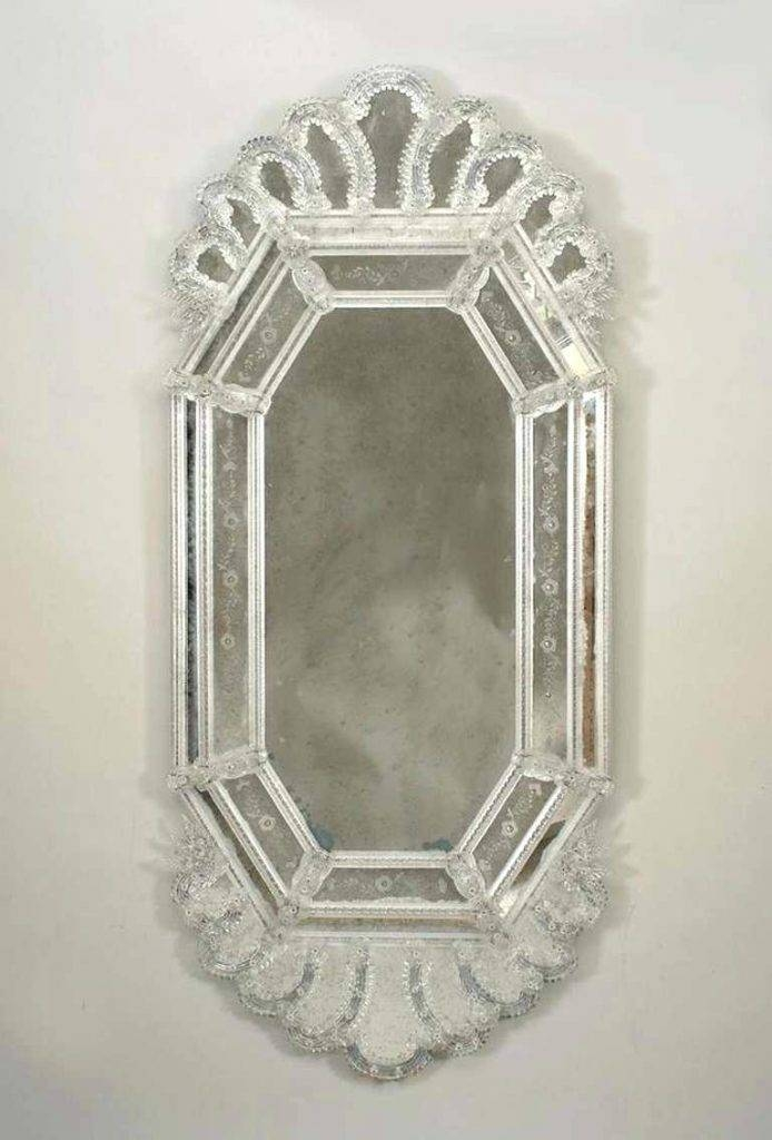 Venetian Glass Mirror With Floral And Leaf Motif Wall Etched With Venetian Heart Mirrors (#20 of 20)