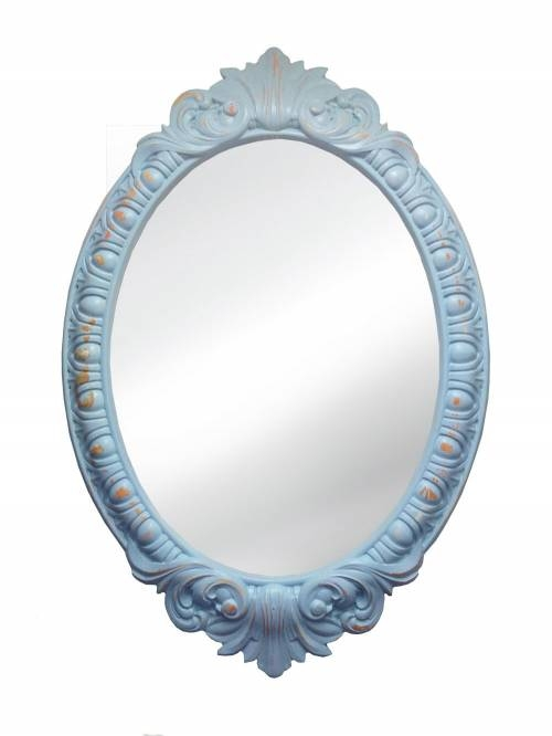 Venetian Mirror In Blue Shabby Chic Frame Regarding Oval Shabby Chic Mirrors (View 17 of 20)
