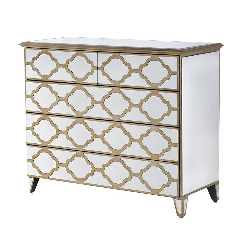 Venetian Mirrored 5 Drawer Chest | Venetian Gold Patterned 5 With Venetian Mirrored Chest Of Drawers (#15 of 20)