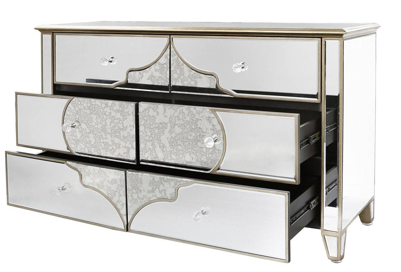 Venetian Mirrored Chest Of 6 Drawers With Gold Pattern Regarding Venetian Mirrored Sideboard (#19 of 20)