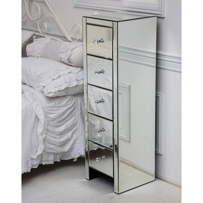 Venetian Mirrored Glass Bedside Table With Five Drawers And Glass Within Venetian Mirrored Chest Of Drawers (#18 of 20)