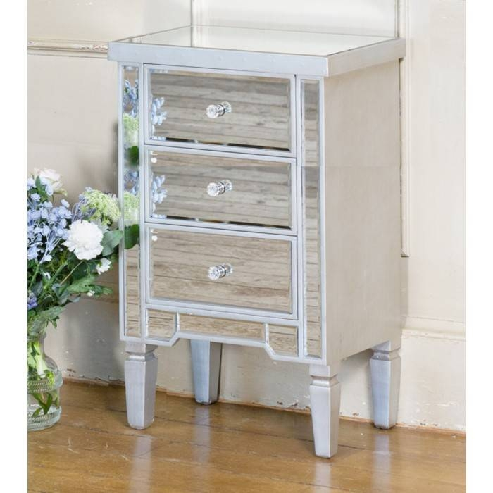 Venetian Mirrored Three Drawer Bedside Table With Champagne Edge In Venetian Mirrored Chest Of Drawers (#19 of 20)