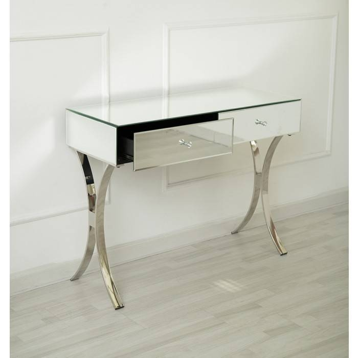Inspiration about Venetian Mirrored Two Drawer Curved Leg Console Table With Mirrors Console Table (#5 of 20)