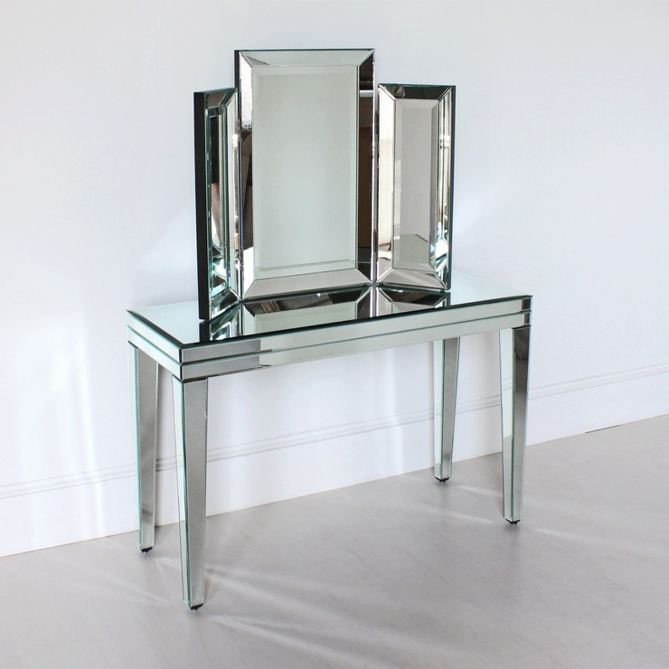 Venetian Three Fold Modern Dressing Table Mirror | Mirrors Inside Venetian Table Mirrors (#20 of 20)