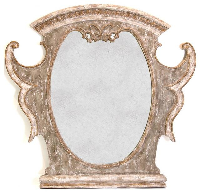 Versailles French Country Antique Gold Distressed Carved Mirror In French Gold Mirrors (#18 of 20)