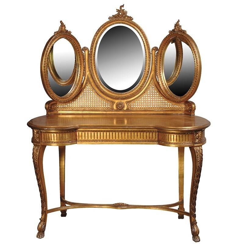 Inspiration about Versailles Gilt French Triple Mirrored Dressing Table | Gold Leaf Inside Gold Dressing Table Mirrors (#7 of 30)