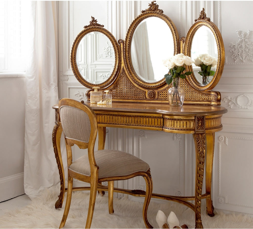 Versailles Gold French Dressing Table With Mirror | Dressing Tables Throughout Gold Dressing Table Mirrors (View 2 of 30)