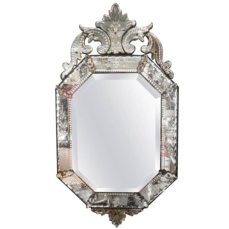 Inspiration about Very Fine Antique Venetian Etched Glass Mirror In Medium Size At Within Venetian Etched Glass Mirrors (#1 of 20)