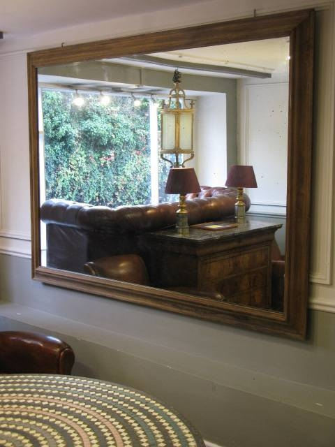Very Large 19Th Cent English Oak Frame Mirror – Square Mirrors Pertaining To Very Large Mirrors (#23 of 30)