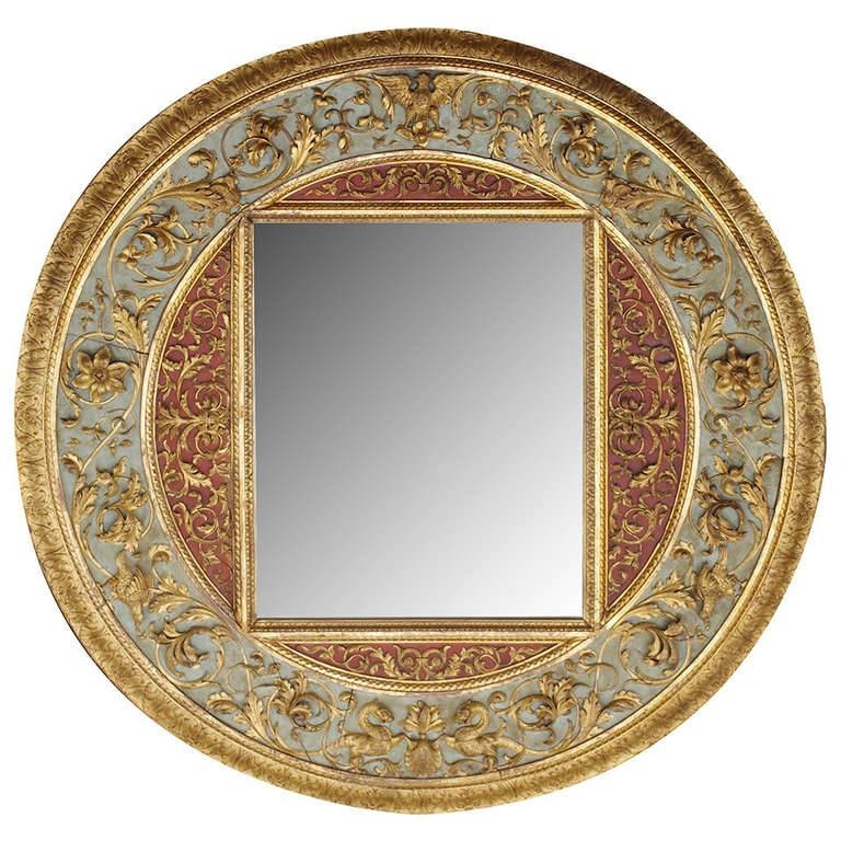 Very Large Renaissance Style Round Mirror In Sculpted Wood At 1Stdibs With Regard To Very Large Round Mirrors (#28 of 30)