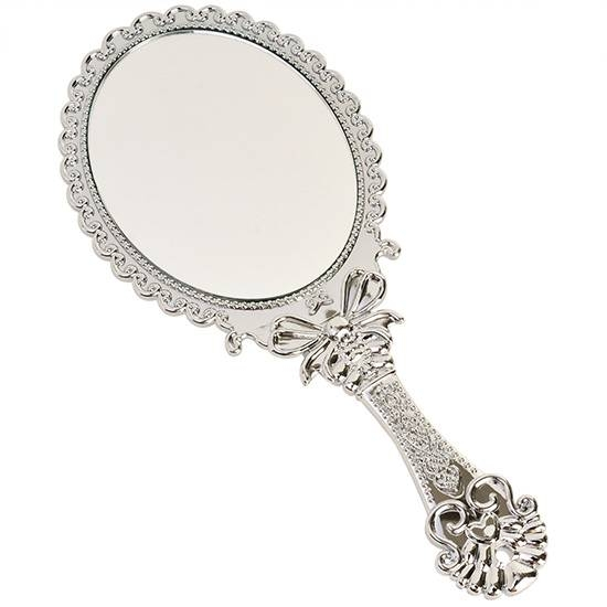 Vintage Antique Style Oval Round Silver Hand Held Vanity Mirror Regarding Vintage Standing Mirrors (View 23 of 30)