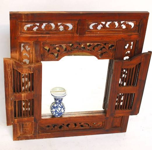 Vintage Balinese Style Teak Window Mirror For Wall Mirrors With Shutters (#18 of 20)