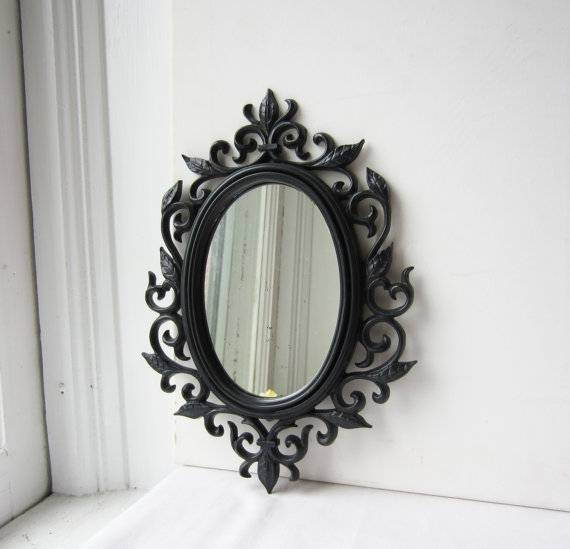 Vintage Black Ornate Filigree Plastic Framed Mirror Small Within Black Ornate Mirrors (#28 of 30)