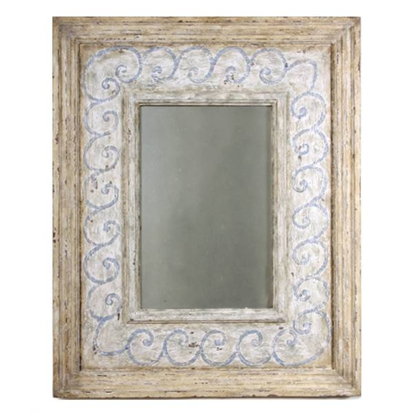 Inspiration about Vintage Coastal Cottage Mirror – Blue And White In Distressed Cream Mirrors (#20 of 30)