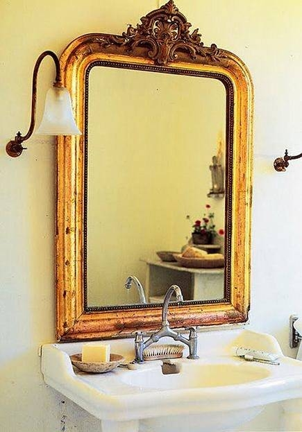 Vintage Gold Leaf Mirrors Within Elegant Antique Bathroom Mirrors Pertaining To Vintage Gold Mirrors (#28 of 30)