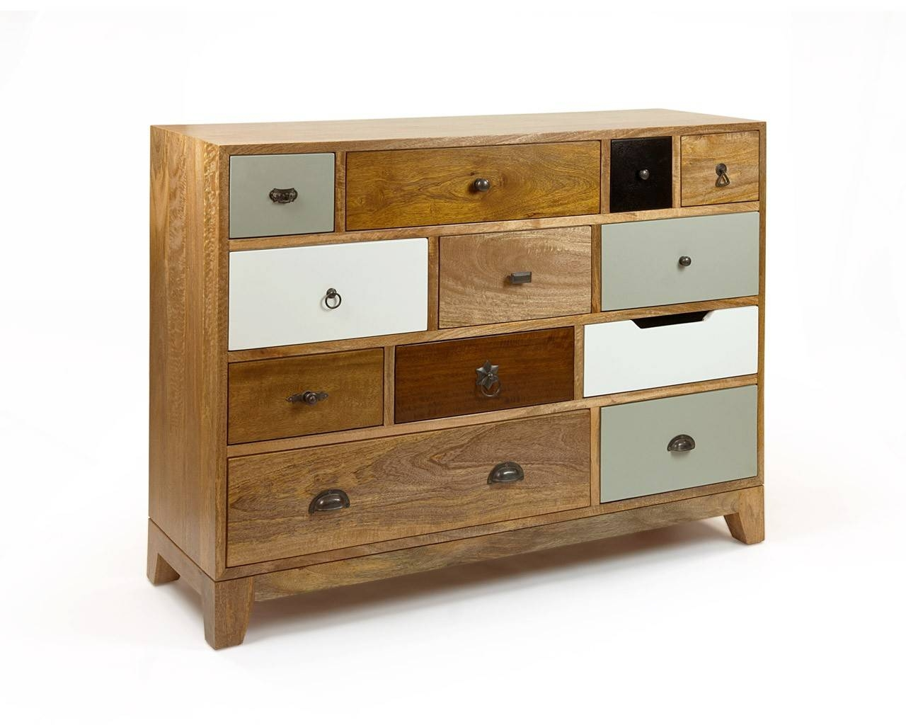 Vintage Inspired Chest Of Drawers – Multicoloured Wooden Chests With Multi Drawer Sideboard (#20 of 20)