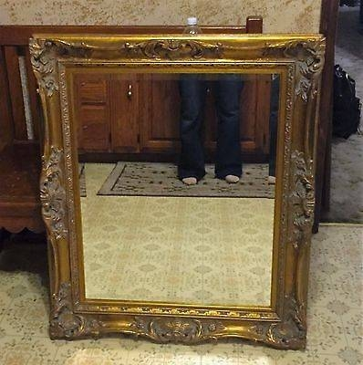 Vintage Large Ornate Gilt Gold Carved Wood Frame, Beveled Mirror Pertaining To Large Gold Ornate Mirrors (View 29 of 30)