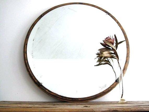 Inspiration about Vintage Large Round Wall Mirror Wood Framed Hanging Art Deco Throughout Round Art Deco Mirrors (#23 of 30)