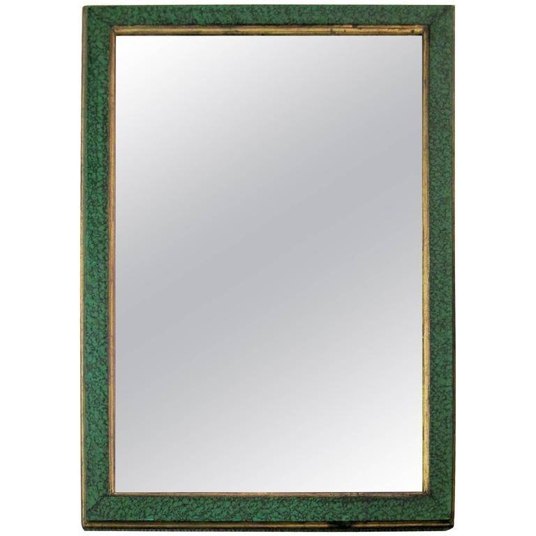 Vintage Malachite Green Style Lacquer And Gilt Wall Mirror For Intended For Vintage Style Mirrors (#16 of 20)