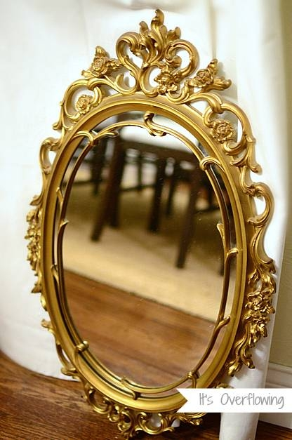 Vintage Mirror With A Coat Of Spray Paint – It's Overflowing Within Vintage Mirrors (View 19 of 20)