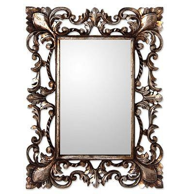 Vintage Style Mirror And Wood Frame With Silver Gilt – Antique With Regard To Vintage Style Mirrors (#17 of 20)