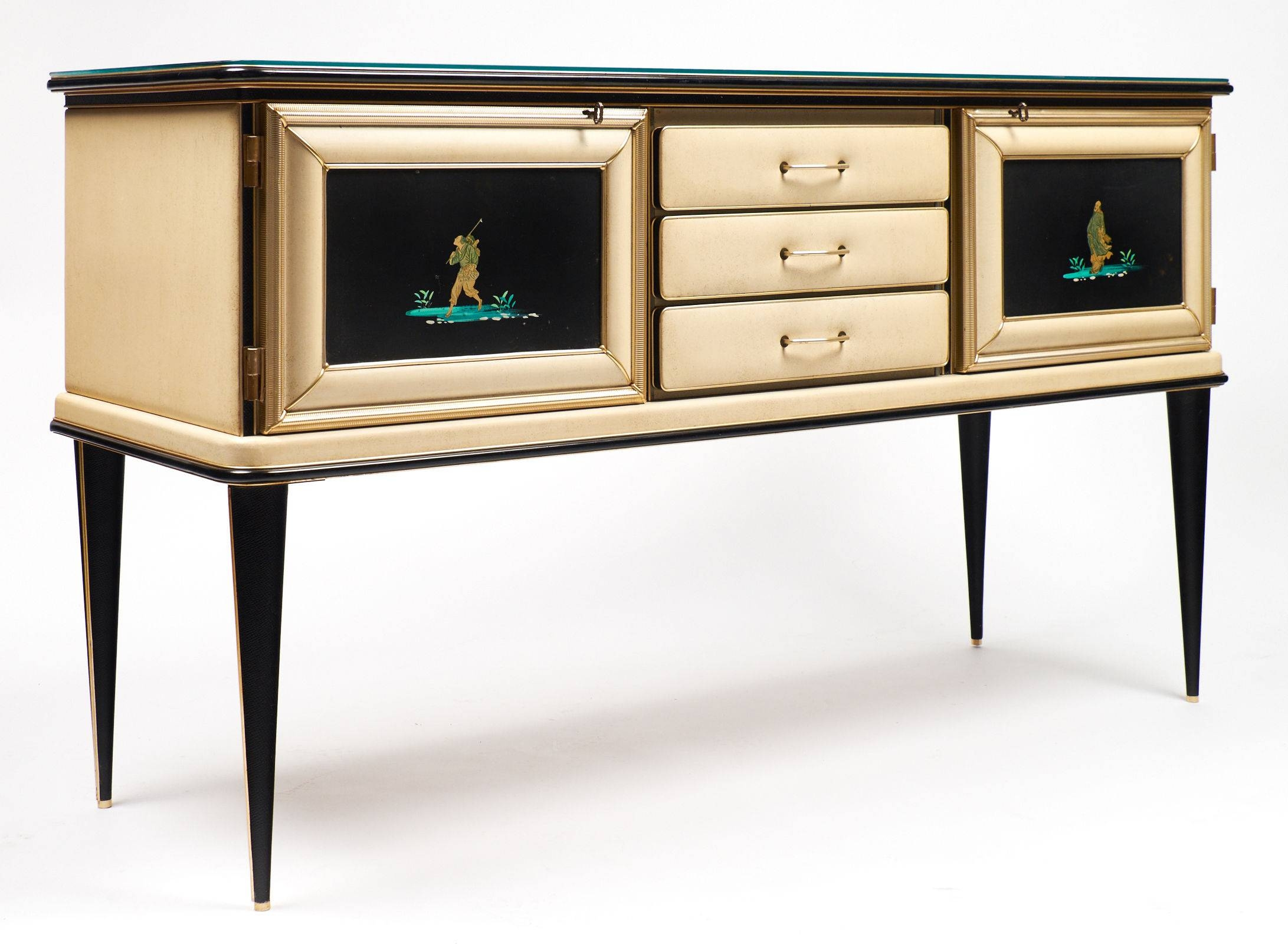Vintage Umberto Mascagni Chinoiserie Sideboard – Jean Marc Fray Inside Glass Top Sideboard (#16 of 20)
