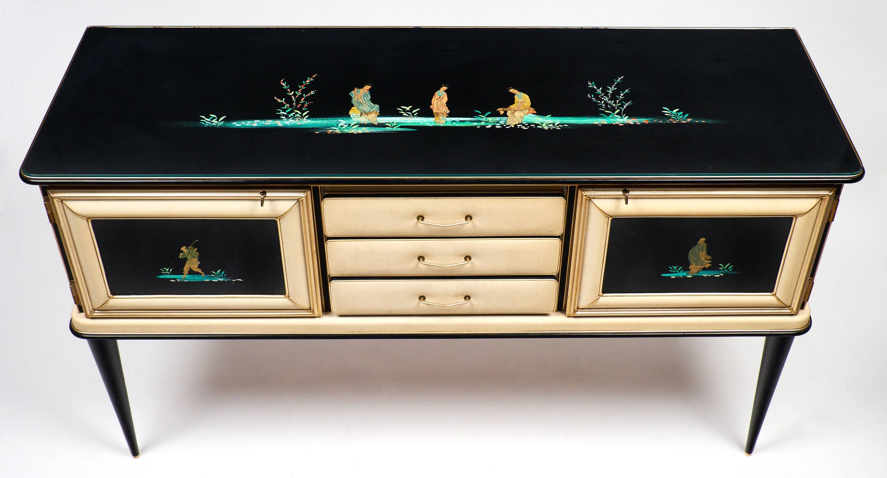 Vintage Umberto Mascagni Chinoiserie Sideboard – Jean Marc Fray Inside Glass Top Sideboard (#17 of 20)