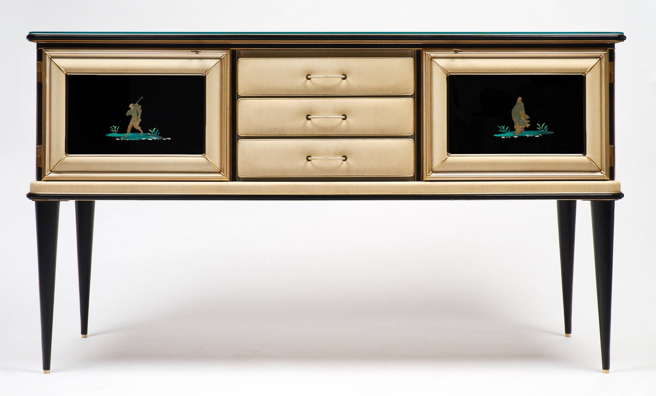 Vintage Umberto Mascagni Chinoiserie Sideboard – Jean Marc Fray Inside Glass Top Sideboard (#15 of 20)