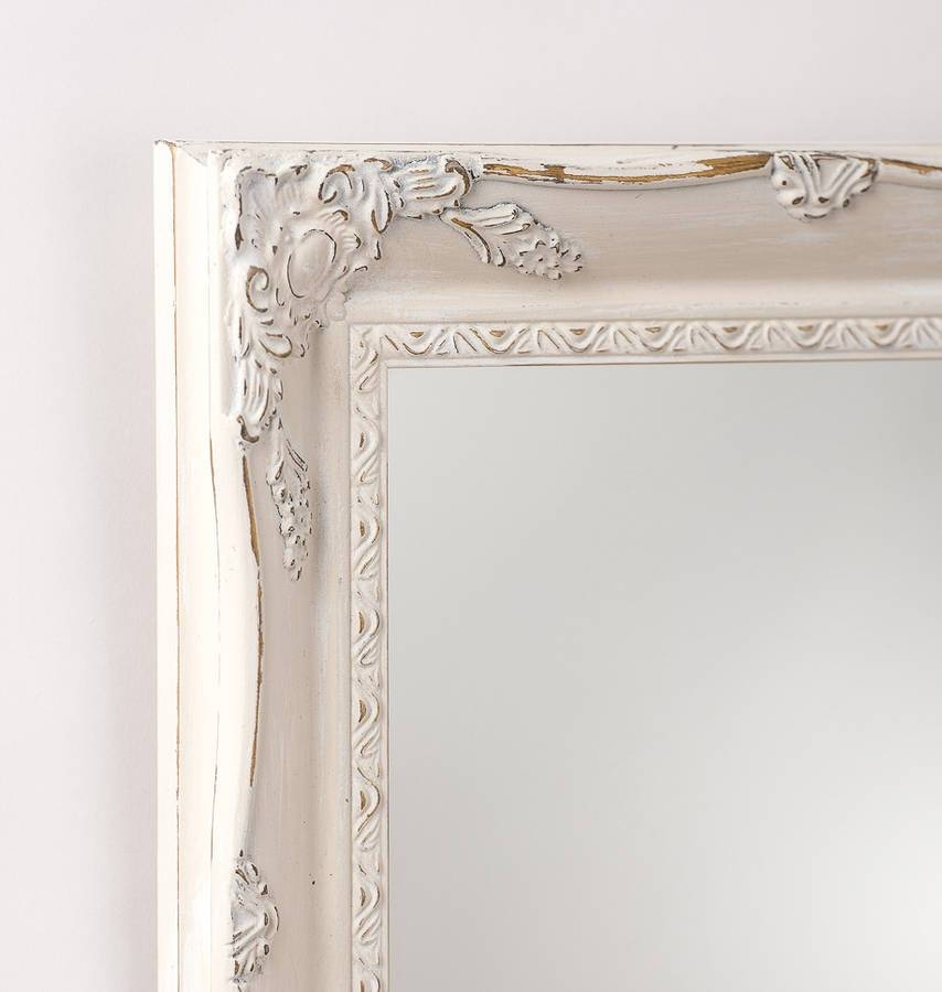 Vintage White Cream Hand Painted Mirrorhand Crafted Mirrors Throughout Cream Mirrors (#30 of 30)