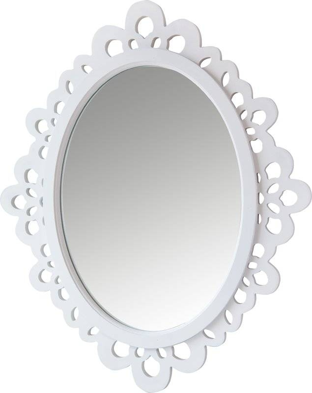 Viv + Rae Oval Wood Lace Wall Mirror & Reviews | Wayfair Pertaining To White Oval Wall Mirrors (#29 of 30)