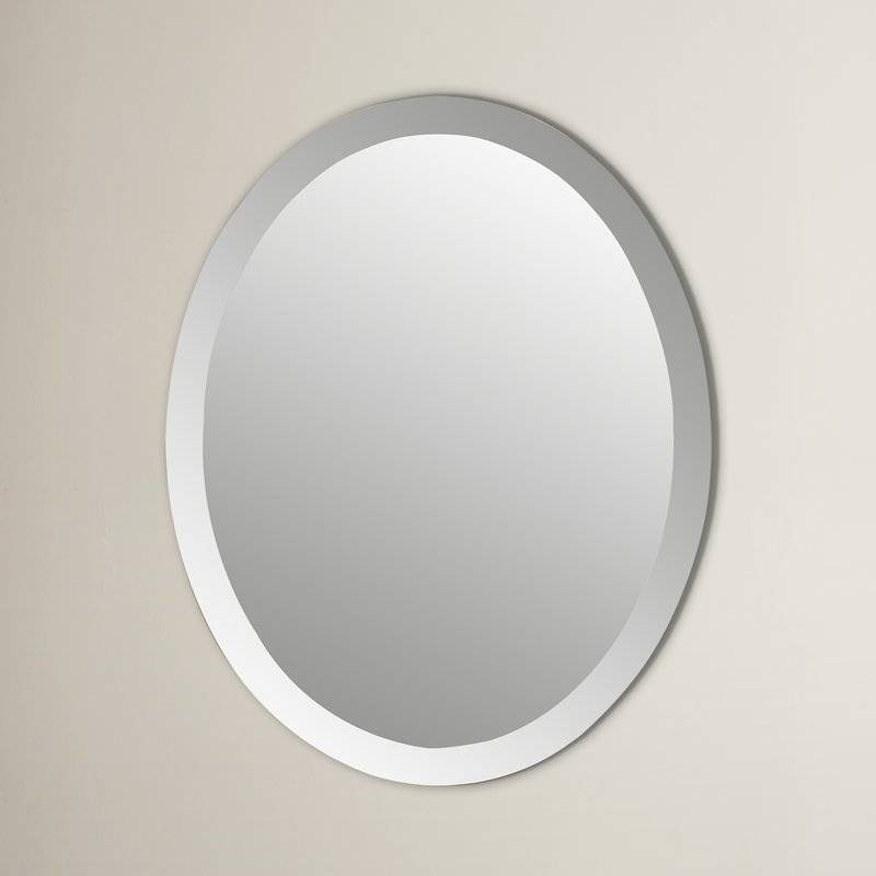 Wade Logan Duane Oval Bevel Frameless Wall Mirror & Reviews | Wayfair For Oval Bevelled Mirrors (#30 of 30)